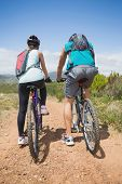 Full length rear view of an athletic couple mountain biking
