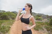 Portrait of an athletic young woman drinking water on country road
