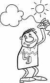 Man With Cloud On String Coloring Page