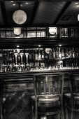 Pub black and white bar scene