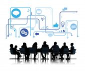 Silhouette Group of Business People with Meeting Table