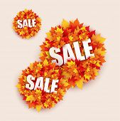 black friday sale shopping banner shaped with autumn leaves design - vector