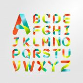 Ribbon Alphabet And Colorful Font.set Of Capital Letter A To Z