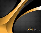 elegant golden metallic elements on black background business card eps10 vector