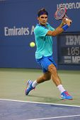 Seventeen times Grand Slam champion Roger Federer  during third round match at US Open 2014