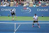 Grand Slam champions Mike and Bob Bryan during US Open 2014 round 3 doubles match