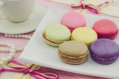 Vintage Of Sweet French Macaroons Or Macaron.