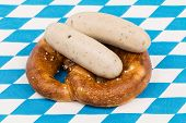 Bavarian Pretzel With White Sausage