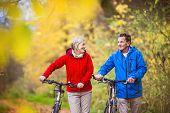 Active seniors walking with bike