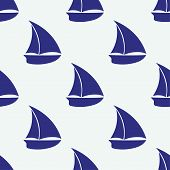Vector seamless pattern with sea elements small ship