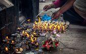 Ritual Near Hindu Temple In Nepal