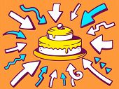 Illustration Of Arrows Point To Icon Of Home Cake On Orange Background.