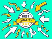 Illustration Of Arrows Point To Icon Of Label Best Quality On Green Background.