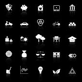Sufficient Economy Icons With Reflect On Black Background