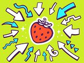 Illustration Of Arrows Point To Icon Of  Red Strawberry On Green Background.