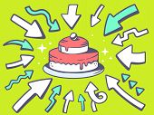 Illustration Of Arrows Point To Icon Of  Home Cake On Green Background.