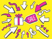 Illustration Of Arrows Point To Icon Of  Gift Box With Pink Label Sale On Yellow Background.