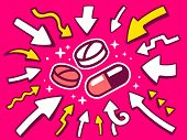 Illustration Of Arrows Point To Icon Of  Vitamins And Pills On Pink Background.