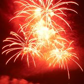 Red Colorful Fireworks