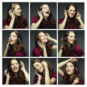 Collage of woman different facial expressions. Listening to misic.