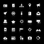 Contact Connection Icons With Reflect On Black Background