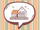 Illustration Of Speech Bubble With Icon Of Home Goods On Orange And Green Pattern Background.