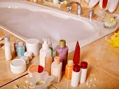 stock photo of bubble-bath  - Home bathroom interior with bubble bath - JPG