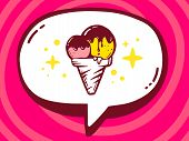 Illustration Of Bubble With Icon Of Ice Cream On Pink Pattern Background.