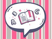 Illustration Of Bubble With Icon Of Open Book On Pink Pattern Background.