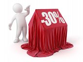 Man and house -30%  (clipping path included)