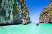 Wooden boad in Maya bay, Thailand.