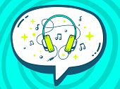 Illustration Of Speech Bubble With Icon Of Headphones On Blue Pattern Background.