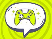 Illustration Of Speech Bubble With Icon Of Joystick On Green Pattern Background.