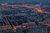 Evening panorama of the city of Moscow