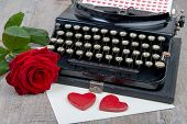 Red Hearts And Typewriter For Valentine's Day