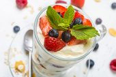 Glasses with  Fruit and Berry Parfait for Dessert