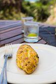 Healthy Seaside Breakfast with Omelet