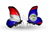 Two Butterflies With Flags On Wings As Symbol Of Relations Holland And Belize