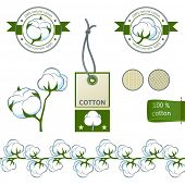 Highly detailed cotton emblems and deign elements set