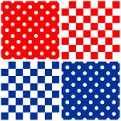 Tile vector pattern set with red, blue and white polka dots and plaid background