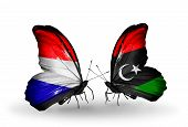 Two Butterflies With Flags On Wings As Symbol Of Relations Holland And Libya