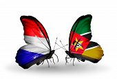 Two Butterflies With Flags On Wings As Symbol Of Relations Holland And Mozambique