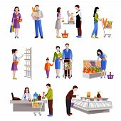 foto of supermarket  - People in supermarket buying grocery products decorative icons set isolated vector illustration - JPG