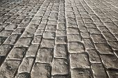 Dark Stone Pavement, Background Texture With Perspective