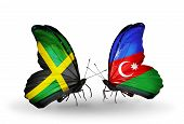 Two Butterflies With Flags On Wings As Symbol Of Relations Jamaica And  Azerbaijan