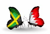Two Butterflies With Flags On Wings As Symbol Of Relations Jamaica And  Bahrain