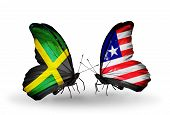 Two Butterflies With Flags On Wings As Symbol Of Relations Jamaica And Liberia