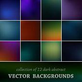 Set of twelve vector blurred background.