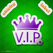 Vip Icon Sign. Symbol Chic Colored Sticky Label On Green Background. Vector