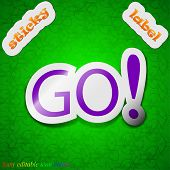 Go Icon Sign. Symbol Chic Colored Sticky Label On Green Background. Vector